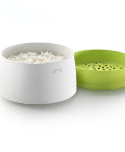 Ett praktiskt presenttips, Riskokare för micron grön/vit